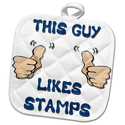3dRose Blonde Designs This Guy Likes With Thumbs - This Guy Likes Stamps - 8x8 Potholder (phl_150476_1)