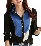 GraceLife ( グレースライフ ) シフォンシャツ レディース 配色シャツ 長袖 折襟シャツ 襟付きシャツ (3: ブルー/ブラック XL)