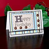 Handmade Striped Happy Birthday Card