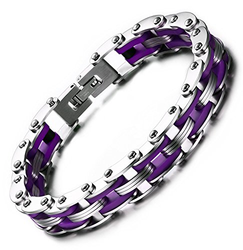 Men's Stainless Steel Punk Motorcycle Biker Chain Bracelet Bangle Sports Silicone Wrist Link (Cycle Chain Bracelet compare prices)