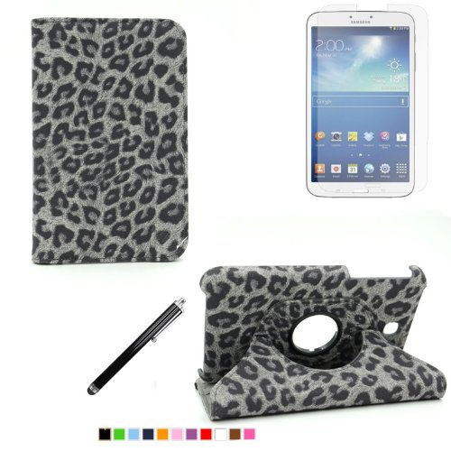360 Degree Rotating Cover Case for Samsung Galaxy Tab 3 7.0 SM-T210 / SM-T217 With Screen Protector and Stylus Galaxy tab 3 7 case From Sheath TM [ Does not Fit Galaxy Tab 3 Lite SM-T110 ] (Leopard Black)