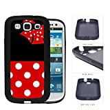 Cute Red and White Polka Dots Pattern on Bottom and Bow with Black Background Hard Rubber TPU Phone Case Cover Samsung Galaxy S3 I9300