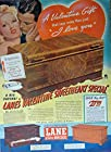 Lane Cedar Hope Chest, 40's Print ad. Full Page Color Illustration (a Valentine Gift that says more than just I Love You) Original Vintage 1940 Life Magazine Print Art