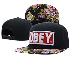 Obey Snapback Cap Casquette noir Floral Fleur Flower Galaxy Hat Tisa Yolo Swagg Ymcmb
