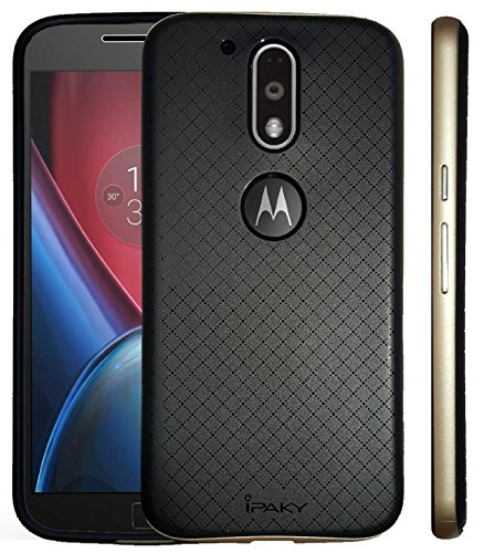 on sale 984b0 91567 Original iPaky Brand Luxury High Quality Silicon Black Back + PC Gold  Bumper Frame Shockproof Back Cover for Motorola Moto G4 Plus/ Moto G4 (4th  Gen)
