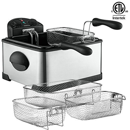Best Buy! Gourmia GDF450 Compact Electric Deep Fryer - 3 Baskets - Dual Thermostat & Timer Dials...