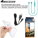 MICROMAX UNITE 2 A106 TRANSPARENT BACK COVER WITH LED SMART TRAVEL CHARGER WITH MULTICOLOR EARPHONE AND USB CABLE