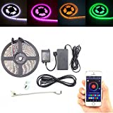 Song-Wing 16.4ft 5M Flexible LED Strip Light Non-waterproof 300leds SMD 5050 RGB Smart Wireless Bluetooth Controller Controlled By APP iOS Apple iPhone ipad Mobile Phone With Power Supply