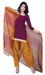 Lovely Look Wine Printed Patiyala Dress Material