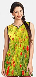 Snoogg Small Red Flowers Printed Womens Casual Short Kurti