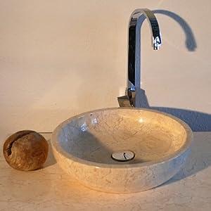 wohnfreuden marmor waschbecken milo rund 40cm creme k che haushalt. Black Bedroom Furniture Sets. Home Design Ideas