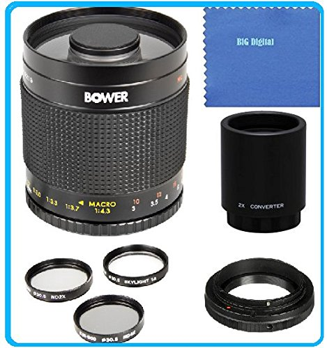 Bower 500mm f/8 Telephoto Mirror Lens + 2x Teleconverter = 1000mm for Sony E-Mount, Alpha a6000, a5000, a5100, A3000, NEX, NEX-F3K, NEX-3NL, NEX-3N, NEX-3NL/B, NEX-3NL/W, NEX-5T, NEX-5TL, NEX-5TL/S, NEX-5TL/W, NEX-5R, NEX-5RK, NEX-6L, NEX-6L/B, NEX6L/B2BDL, NEX-7, a7R, a7K, A7S, Compact System Digital SLR Cameras (500 1000 Lens compare prices)