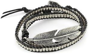 M.Cohen Handmade Designs Black Deer Skin Leather Wrap Charm Bracelet