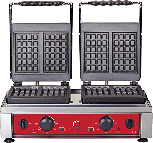 EQ Double Square BELGIAN WAFFLE Maker Griddle |Breakfast| Iron Grill #WK25DE