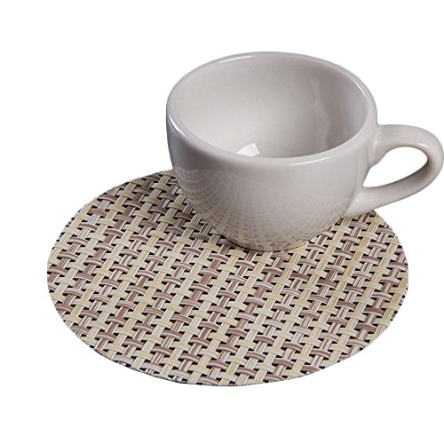 """Set of 10 Reversible Woven PVC Round Cup Coasters for Table Office Solid Color 4"""" Beige"""