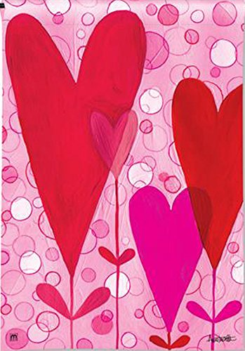 Valentines Day Heart Flowers 28″ x 40″ Decorative Outdoor House Size Flag