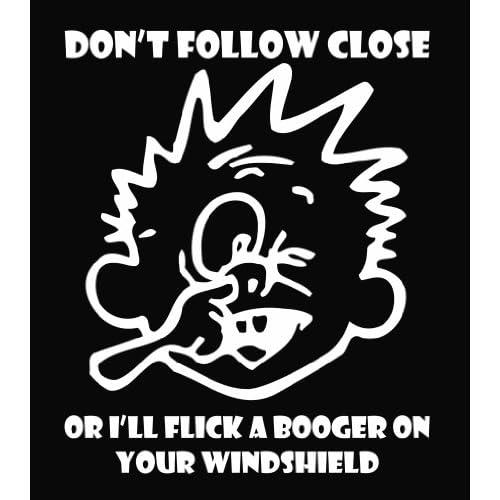 Calvin   Flick a Booger Die Cut Vinyl Decal Sticker 6 White