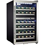 danby dwc114blsdd designer 38 bottle dual zone wine cooler black stainless steel glass