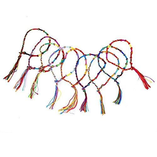 VORCOOL 9ST. stile hippie bunt Verlängerung geflochtene Freundschaft Armbänder filo gepaart Fußkettchen (casuali Farbe)