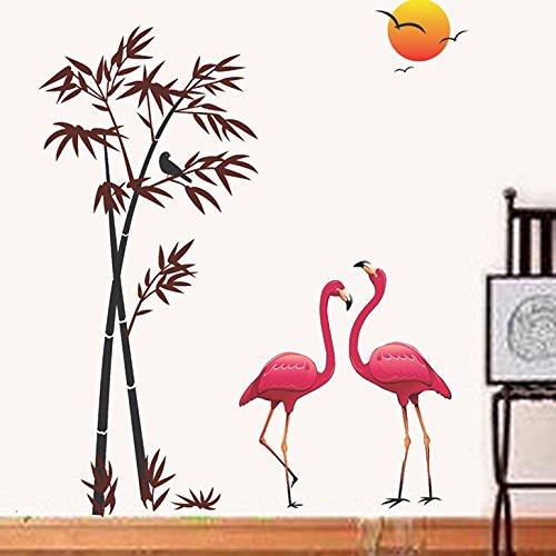 'Flamingos and Bamboo at Sunset' Wall Sticker