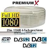 #2: 25m Koaxial Kabel 130 dB 4-Fach geschirmt, SAT Koax Antennenkabel 130dB 3D FullHD 1080p HDTV tauglich Neu