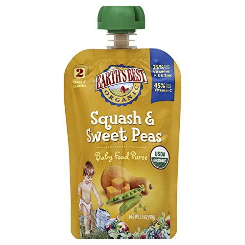 Earth's Best Organic Stage 2, Squash & Sweet Peas, 3.5 Ounce Pouch (Pack of 12)