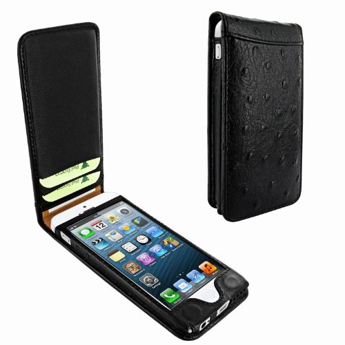 Best Price Apple iPhone 5 / 5S Piel Frama Black Ostrich Magnetic Leather Cover