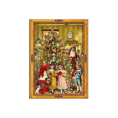 Victorian Christmas Advent Calendar: Decorated Christmas Tree and Children