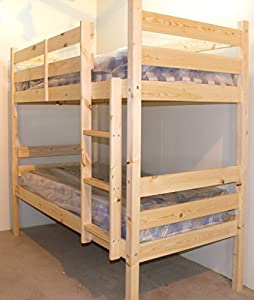 Adult Bunkbeds - 3ft Single, solid pine, includes TWO luxury 20cm thick sprung mattresses