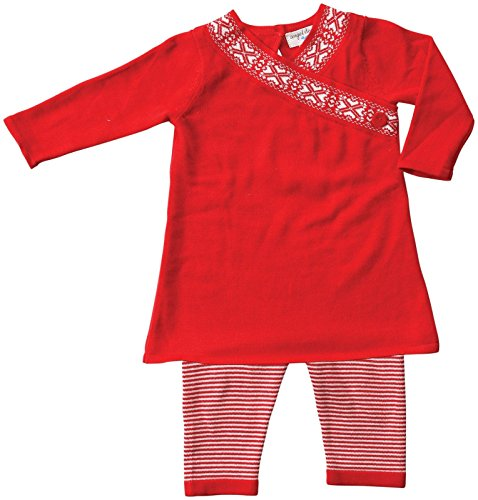 Angel Dear Baby Girls' Snow Berry Dress Set (Baby) - Red/White