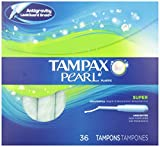 Tampax Pearl Super Absorbency Tampons with Plastic Applicator, Unscented, 36-Count Boxes (Pack of 2)