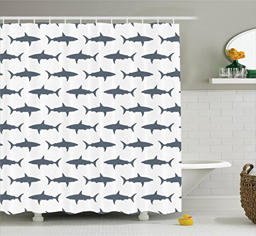 Ambesonne Sea Animals Decor Collection, Sharks Swimming Horizontal Silhouettes Traveler Powerful Danger Design Pattern, Polyester Fabric Bathroom Shower Curtain Set with Hooks, Gray and White (Shark Silhouette compare prices)