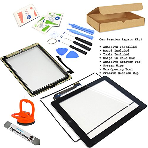 Black Touch Screen Glass Digitizer Assembly With Spare Parts (Home Button, Flex Cable, Camera Bracket, Adhesive) For Ipad 3 3Rd Gen 3G Generation