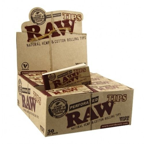RAW Rolling Paper Gummed PERFORATED Tips 10 Booklets of 50