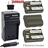 Kastar Battery (3-Pack) and Charger for Canon BP-511, BP-511A, BP511, BP511A and EOS 5D, 10D, 20D, 30D, 40D, 50D, Digital Rebel 1D, D60, 300D, D30, Kiss Powershot G5, Pro 1, G2, G3, G6, G1, Pro90 etc.
