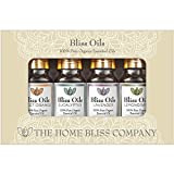 Bliss Oils Top 4 Organic Essential Oils 100% Pure & Natural Gift Set includes Organic Eucalyptus, Lavender, Sweet Orange & Lemongrass Oil. Made With Love By The Home Bliss Company