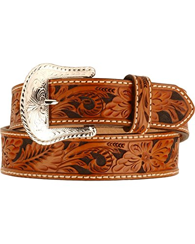 Tony Lama Men's Floral Tooled Leather Belt Reg And Big Tan 40 (Hand Tooled Belt compare prices)