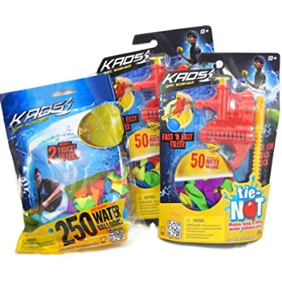 Kaos Tie-not Water Balloon Filling Set Dual Combo Pack with 350 Total
