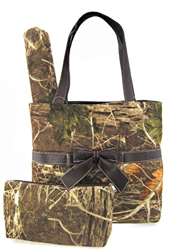 Soft Camo Diaper Bag Tote Purse 3 Piece Set Changing Pad Camouflage Brown front-39931