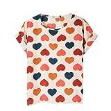 Vobaga Womens Korean Print Short Sleeve Top T-shirt Blouse Colorful Heart XXL