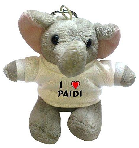 Plüsch Elefant Schlüsselhalter mit T-shirt mit Aufschrift Ich liebe Paidi (Vorname/Zuname/Spitzname)