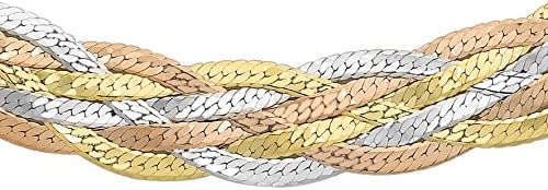 Carissima Gold 9 ct Three Colour Gold 5 Plait Herringbone Chain Necklace of 46 cm/18-inch