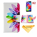 S5 i9600 Case,Se7enline [3 in 1 Bundle] Case+ 2 piece HD Clear Screen Protectors+Soft Clean Cloth, Colorful Fashion flower PU Wallet Leather Case for Samsung Galaxy S5 i9600 PU Leather Credit Card Holder Pouch Cover Case,Samsung Galaxy S5 i9600 leather case cover,Half of the Colorful Flower