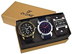 Dezine 3 Pcs Combos Of Black Blue & Brown Coloured Quartz Watch For Men