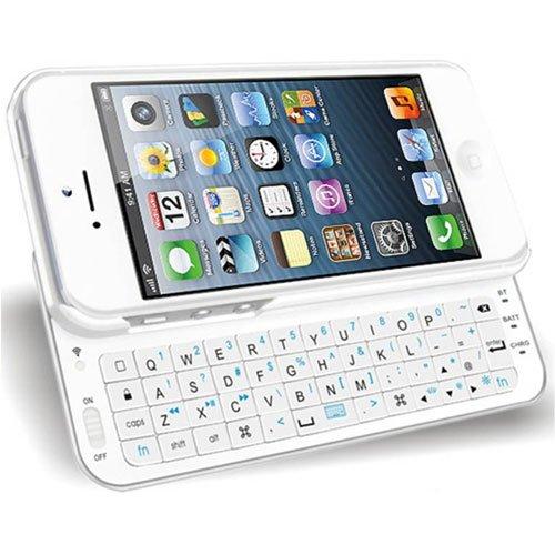 iPhone5/5S用 Bluetooth スライド キーボード ケース ホワイト