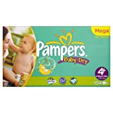 Pampers Baby Dry Sze 4+ (Maxi +) Large Pack 104 Nappies