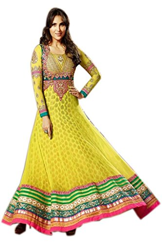 ff40545f73 Stylelok Yellow Georgette Anarkali Suit With Matching Dupatta Sl 1516910