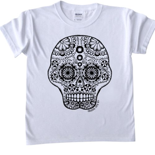 Skull Design T-Shirt for colouring in.