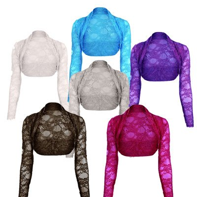 Womens Lace Shrug Bolero Crop Cardigan Top Ladies Sizes 8-14