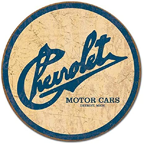 Chevrolet Chevy Historic Logo Round Tin Sign